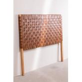 Cabeceira de couro e madeira Zaid para cama de 150 cm, imagem miniatura 2
