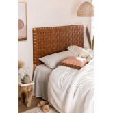 Cabeceira de couro e madeira Zaid para cama de 150 cm, imagem miniatura 1