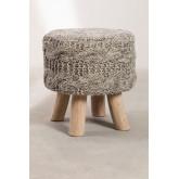 Banco Rixar baixo redondo de lã e madeira , imagem miniatura 2