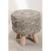 Banco Rixar baixo redondo de lã e madeira , imagem miniatura 3