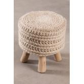 Banco redondo de lã e madeira Jein, imagem miniatura 3