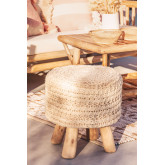 Banco redondo de lã e madeira Jein, imagem miniatura 1