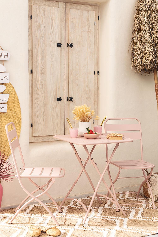 Conjunto de mesa dobrável Janti (60 x 60 cm) e 2 cadeiras de jardim dobráveis Janti, imagem de galeria 1