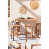 Conjunto de mesa para jardim e 4 bancos altos em madeira de teca Pira, imagem miniatura 1