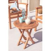 Mesa lateral dobrável para jardim em madeira de teca (Ø50 cm) Pira, imagem miniatura 1