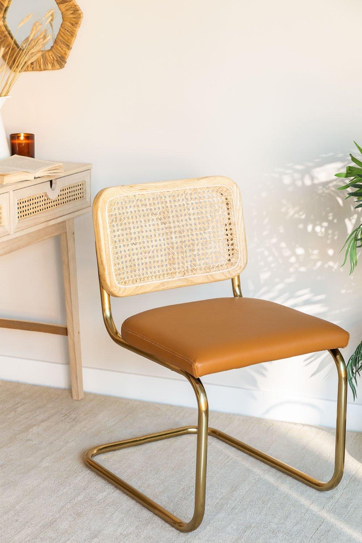 Cadeira de jantar em couro Tento Gold, imagem de galeria 1