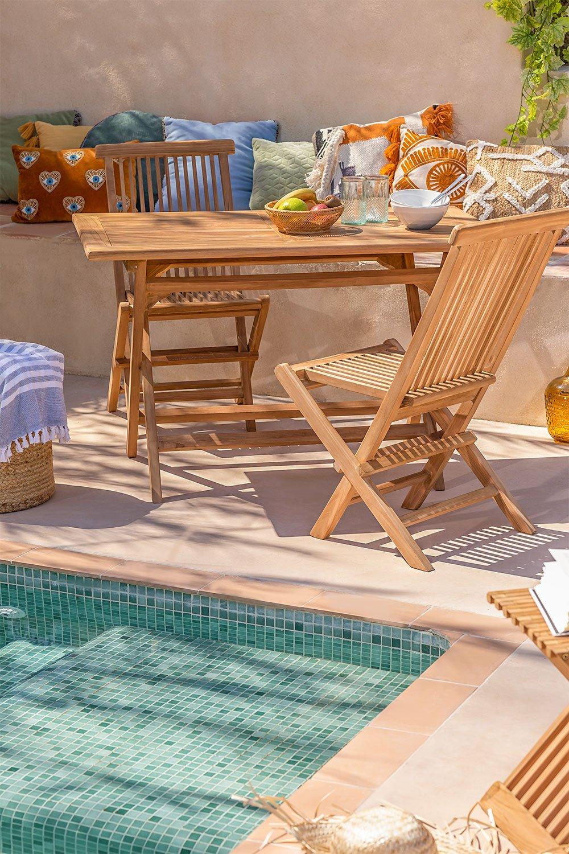 Conjunto de Jardim Mesa Retangular Dobrável e 2 Cadeiras em Madeira Teca Pira, imagem de galeria 1