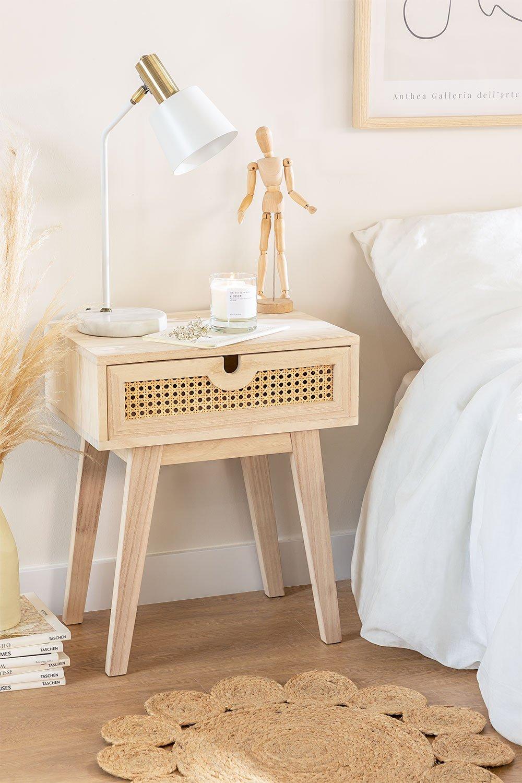 Mesa de cabeceira estilo Ralik com gaveta em madeira, imagem de galeria 1
