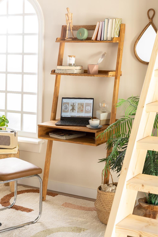 Mesa de madeira de carvalho estilo Zina com prateleiras, imagem de galeria 1