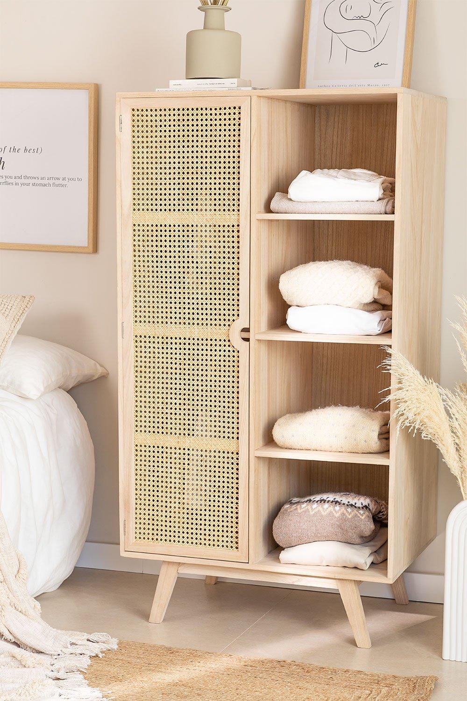 Guarda-roupa de madeira estilo Ralik com 1 porta, imagem de galeria 1