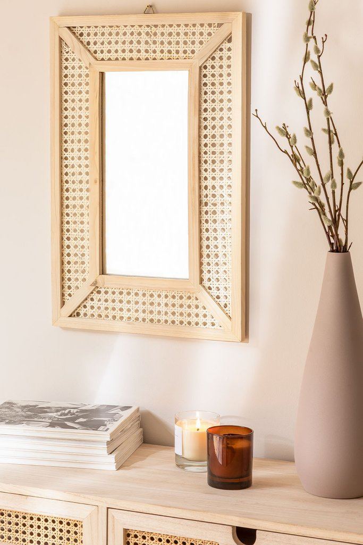 Espelho de parede retangular em madeira (60x40 cm) Frey, imagem de galeria 1