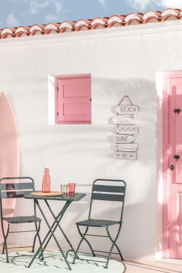 Conjunto de mesa dobrável Janti (60 x 60 cm) e 2 cadeiras de jardim dobráveis Janti