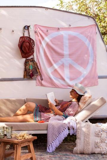 Tapeçaria de algodão Peace & Love