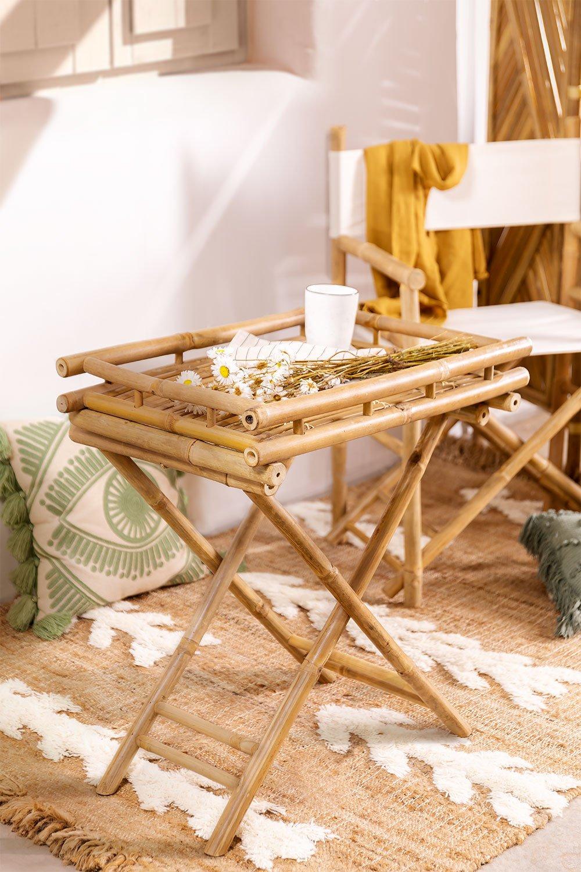 Mesa lateral dobrável Wallis com bandeja em bambu, imagem de galeria 1