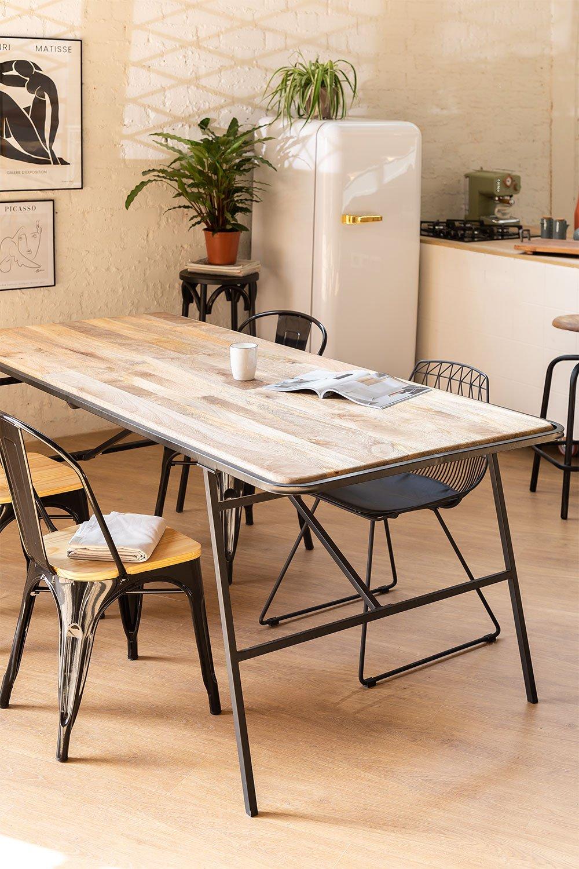 Mesa de jantar retangular de madeira (200x91cm) estilo Nathar, imagem de galeria 1