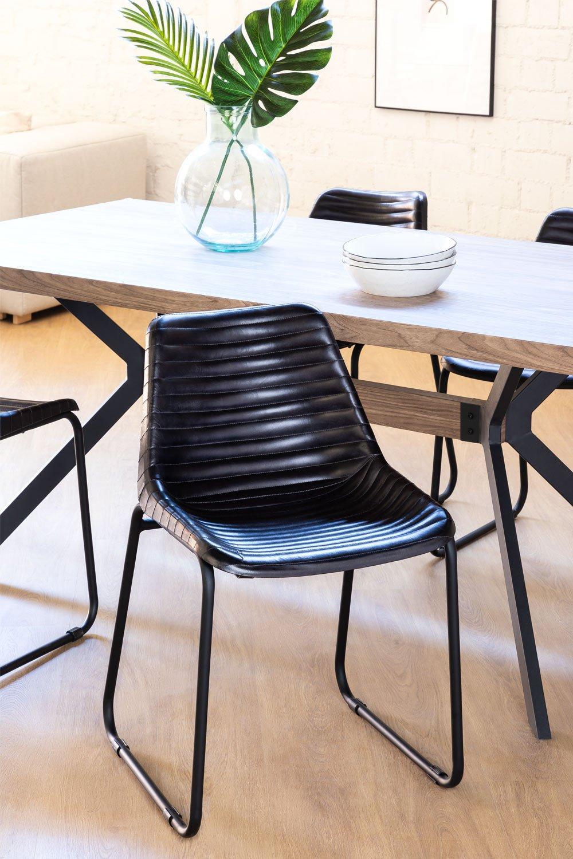 Cadeira de jantar de couro Zekal, imagem de galeria 1