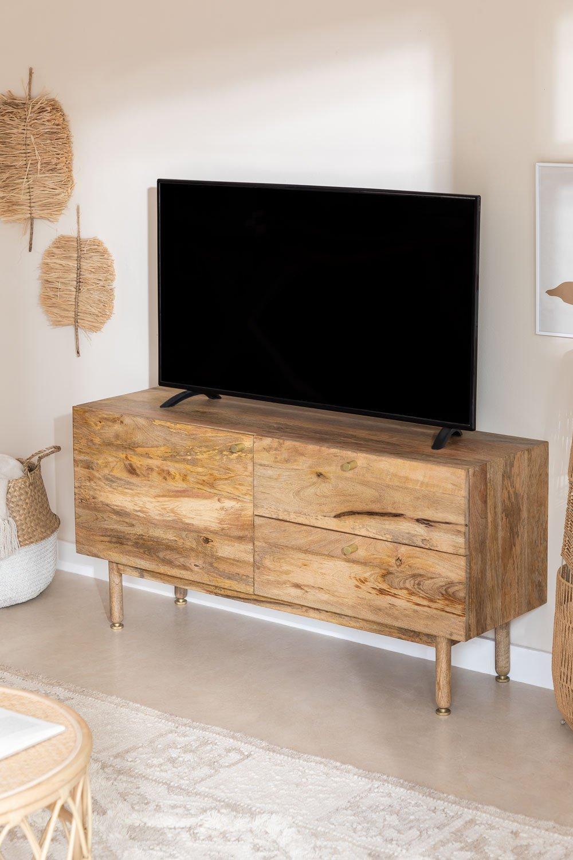 Armário de TV de madeira com porta Absy, imagem de galeria 1