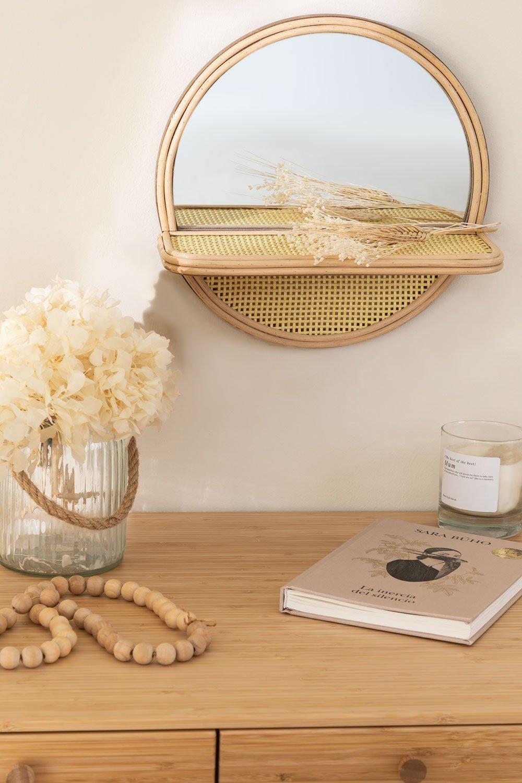 Espelho redondo de parede com prateleira em madeira de pinho (Ø30) Rykker, imagem de galeria 1