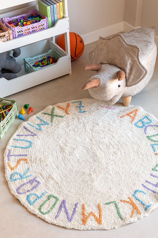 Tapete redondo de algodão (Ø104 cm) com letras infantil, imagem de galeria 1