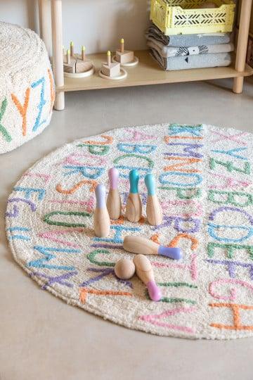 Tapete redondo de algodão (Ø104 cm) com letras infantil