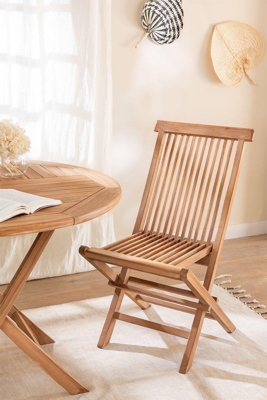 Pacote de 2 cadeiras de jantar dobráveis em Pira de madeira de teca, imagem de galeria 1