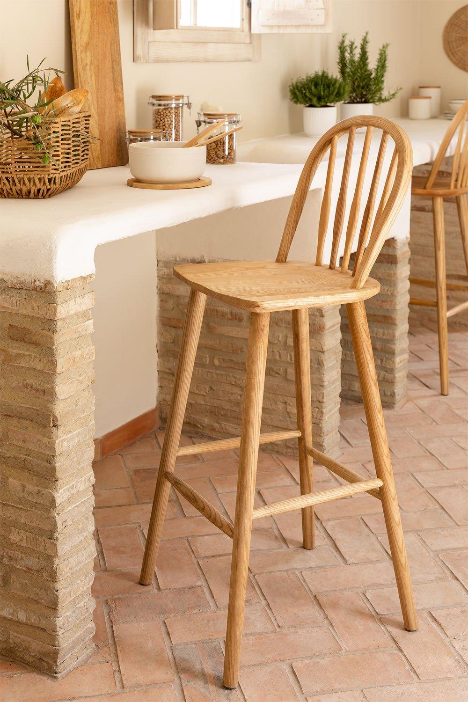 Banquinho alto em madeira natural Lorri, imagem de galeria 1