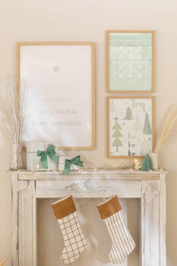 Conjunto de 3 Folhas Decorativas de Natal (50x70 e 30x40 cm) Belene