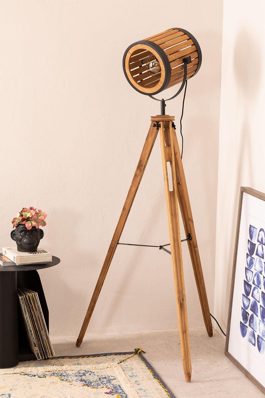 Candeeiro de pé de tripé de bambu, imagem de galeria 1