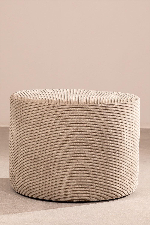 Puff redondo em veludo cotelê yango, imagem de galeria 1