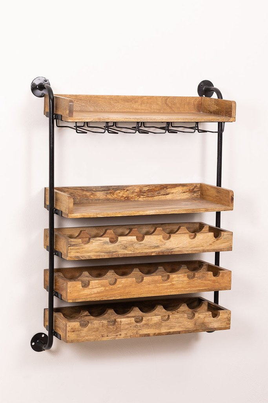 Wenni Wood Wall Wine Rack, imagem de galeria 1