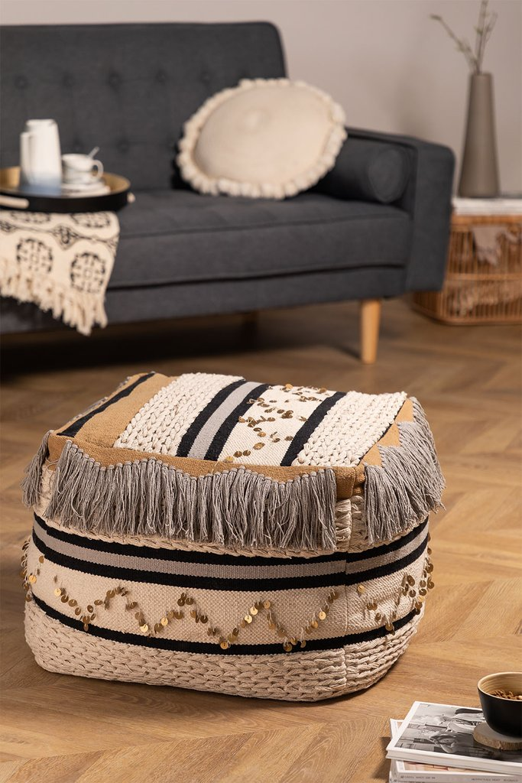 Kajun Cotton Square Puff, imagem de galeria 1