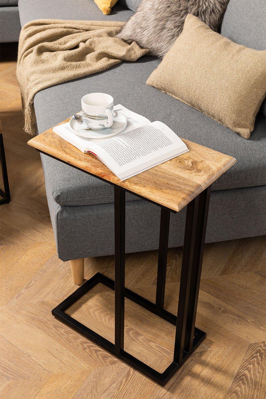 Mesa lateral de madeira de manga Bavi, imagem de galeria 1