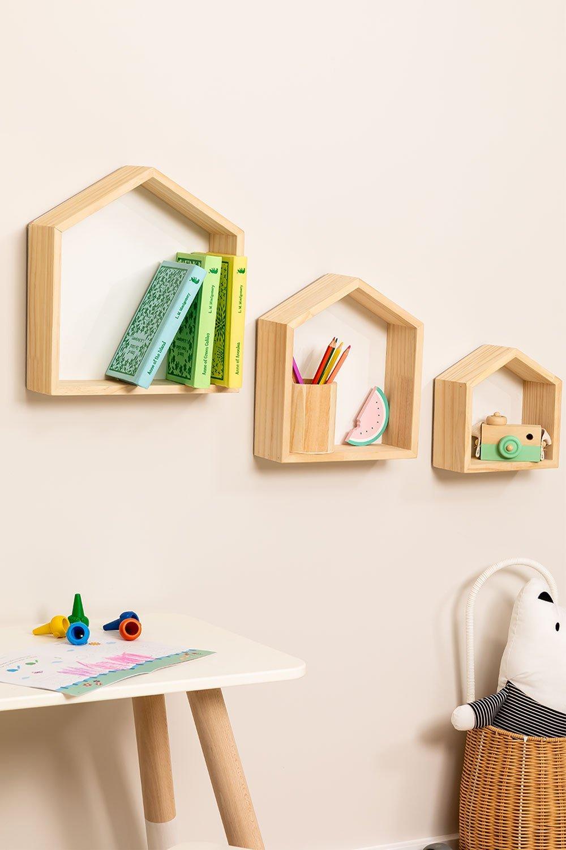 Conjunto de 3 estantes de parede de madeira de pinho Menlo Kids, imagem de galeria 1