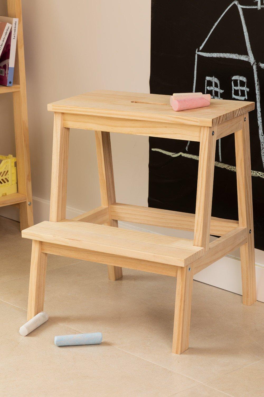 Tamborete de madeira de pinho Wems, imagem de galeria 1