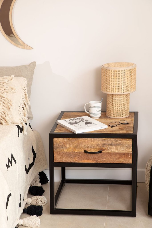 Mesa de cabeceira de madeira Bavi, imagem de galeria 1