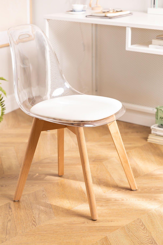 Cadeira de jantar nórdica transparente, imagem de galeria 1