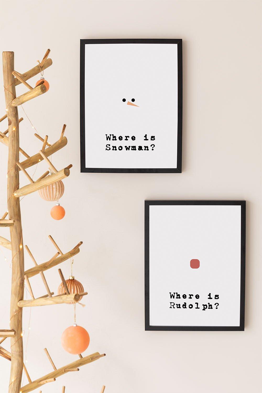 Conjunto de 2 placas decorativas de Natal (30x40 cm) Papai Noel, imagem de galeria 1