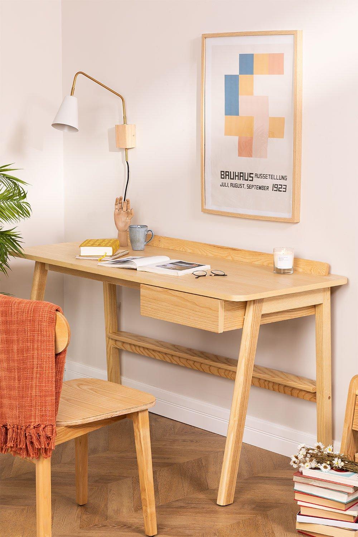 Amde Ash Wood Desk com gaveta, imagem de galeria 1