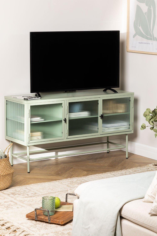 Armário para TV Vertal de metal e vidro, imagem de galeria 1