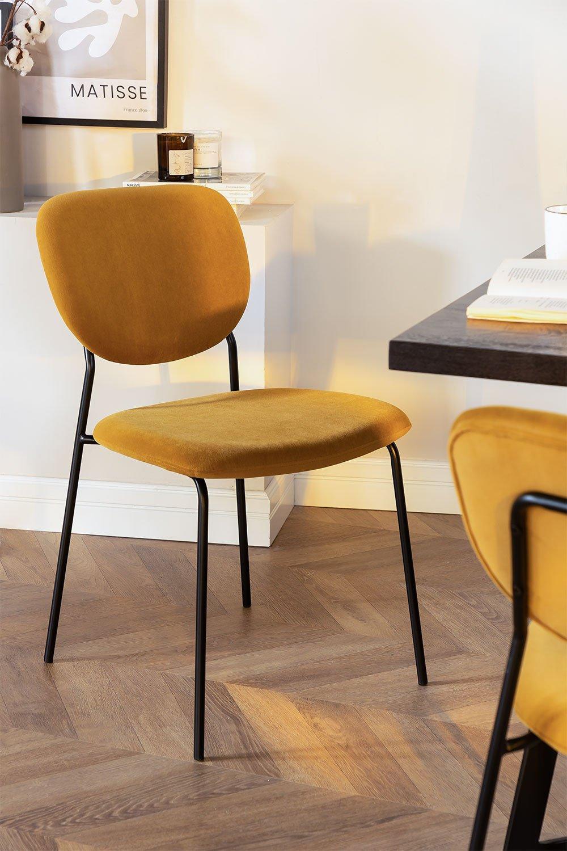 Cadeira de jantar estofada Taris Velvet, imagem de galeria 1