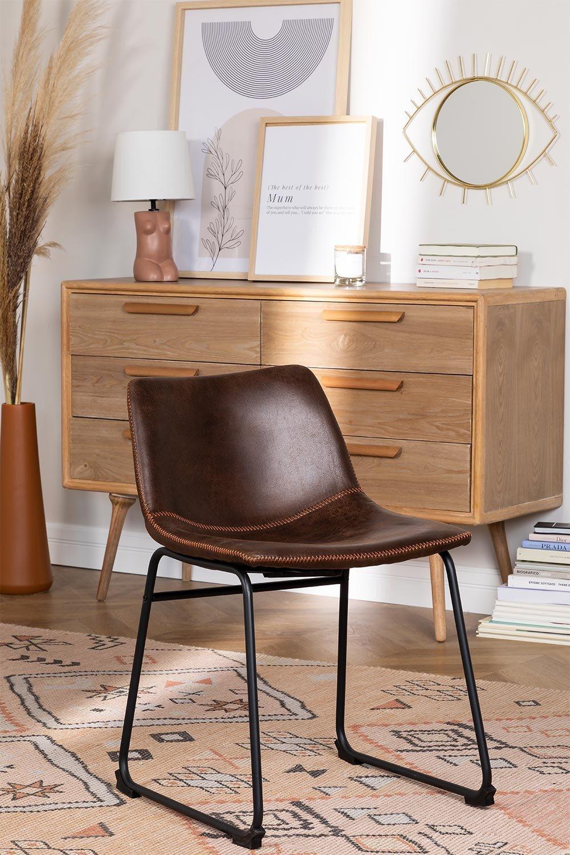 Cadeira estofada em couro estilo Ody, imagem de galeria 1