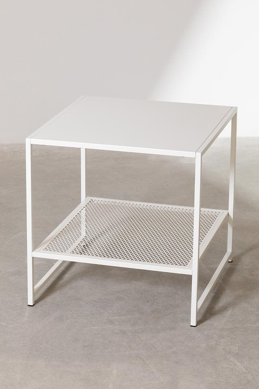 Mesa lateral quadrada em aço com grade (50,8x50,8 cm) Thura, imagem de galeria 1