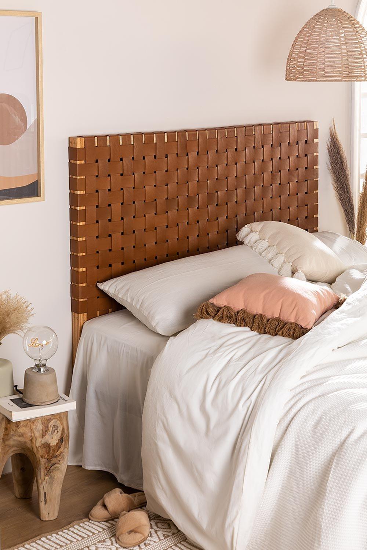 Cabeceira de couro e madeira Zaid para cama de 150 cm, imagem de galeria 1