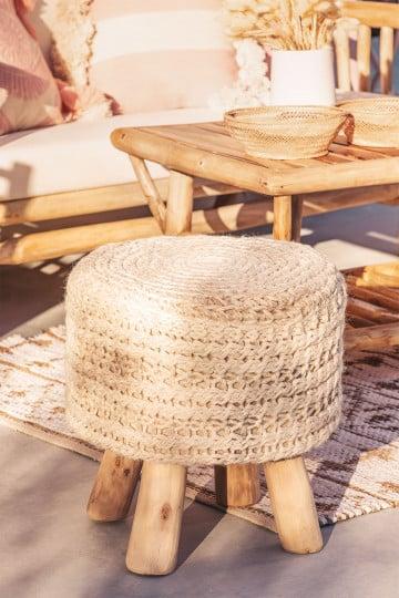 Banco redondo de lã e madeira Jein