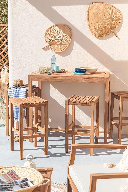Conjunto de mesa para jardim e 4 bancos altos em madeira de teca Pira, imagem de galeria 1