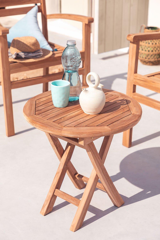Mesa lateral dobrável para jardim em madeira de teca (Ø50 cm) Pira, imagem de galeria 1