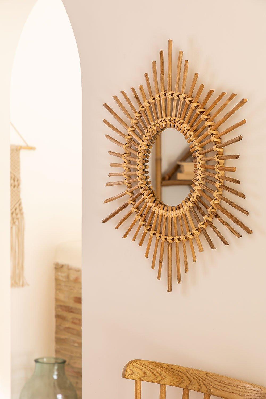 Espelho de parede redondo de bambu (66x66 cm) Etual, imagem de galeria 1