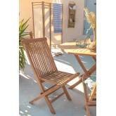 Pack 2 Foldable Garden Chairs in Teak Wood Pira, thumbnail image 1