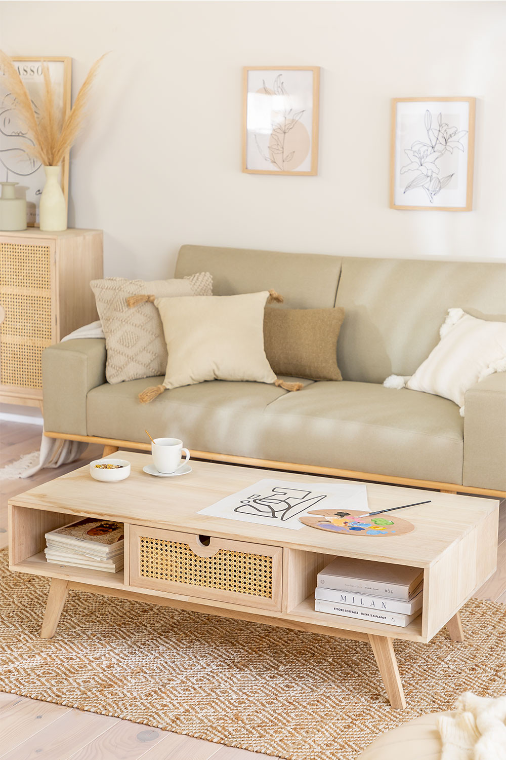 Wooden Coffee Table with Central Drawer Ralik Style, gallery image 1