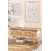 Wooden Bench with 2 Drawers Ralik Style, thumbnail image 1